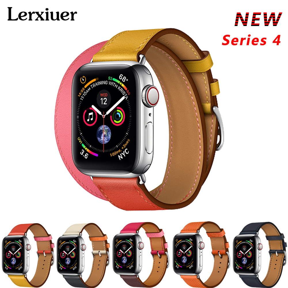 Correa de cuero para Apple watch banda serie 4 44mm 40mm correa de reloj correa Apple watch 42mm 38mm pulsera Correa Iwatch bandas 3/2/1