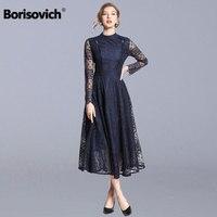 Borisovich Female Vintage Lace Long Dress New Brand 2019 Autumn Fashion Big Swing A line Elegant Women Party Dresses N684