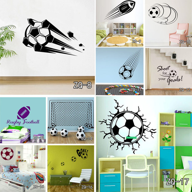 Customized Soccer Pattern Wall Sticker For Kids Rooms DIY Vinyl Removable Goal Net Decal High Quality Football Home Decor Murals