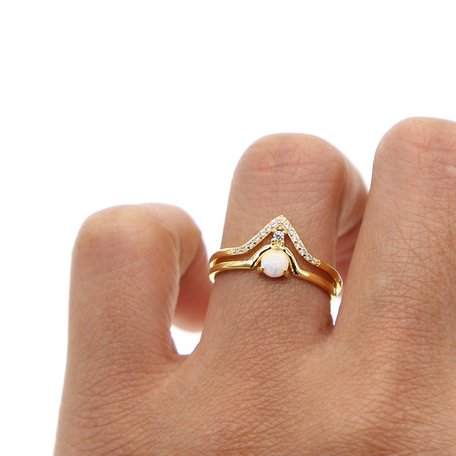 2018 New Arrival Untique Crown Ring Gold Filled Engagment 2pc Ring