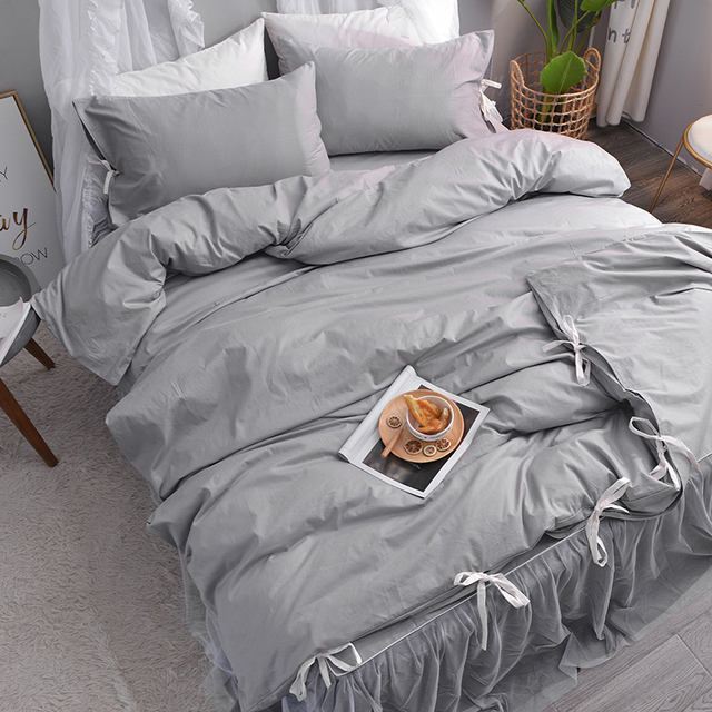 Grey Cotton Bed Sheets Lace Bed Sheet Bed Covers And Bedspread Ruffle Bed  Set Chinese Duvet