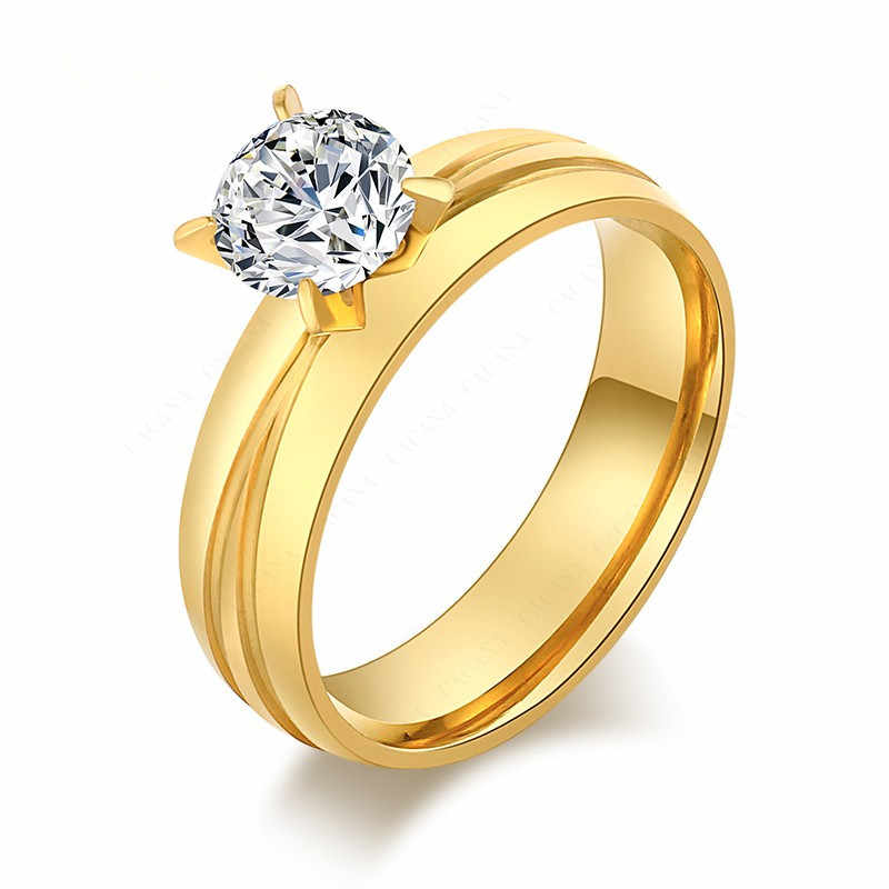 QianBei Gold Plate CZ Inlay Stone Stainless Steel Ring Men Women Wedding Valentine Xmas Gift