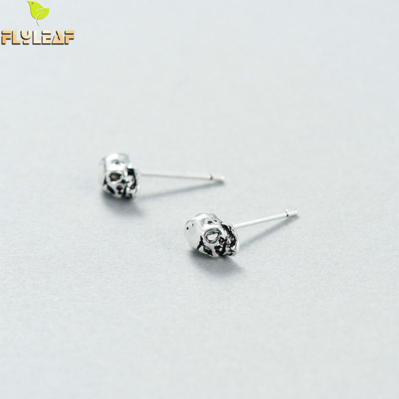 Flyleaf Brand 100% Sterling Silver Skeleton Skull Stud Earrings For Women Vintage Punk Style High Quality Jewelery