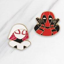 Deadpool-broches de esmalte suave de araña para niños, PIN de héroe de Marvel para ropa, bolso, insignia, joyas de Anime, regalo para niños y amigos