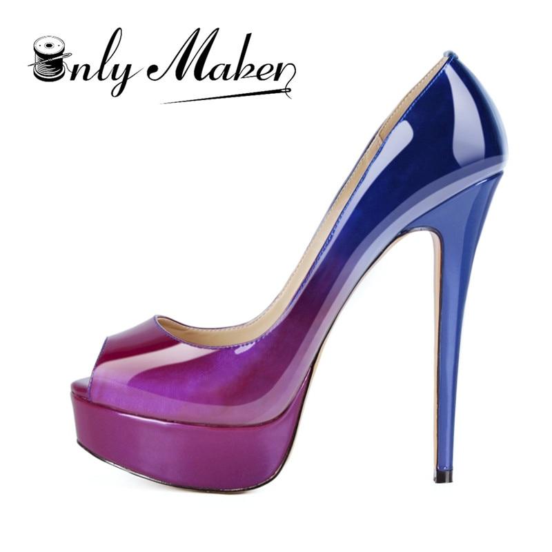 Onlymaker 브랜드 펌프 스틸레토 여성 신발 샌들 16 cm 하이힐 샌들 리벳 펌프 패션 웨딩 신발 플러스 사이즈 13-에서여성용 펌프부터 신발 의  그룹 1