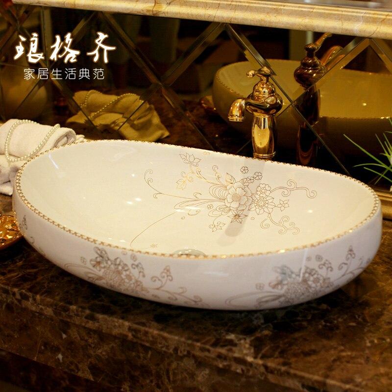 Elíptica plataforma cuenca cerámica sanitaria inodoro lavabo oro flores