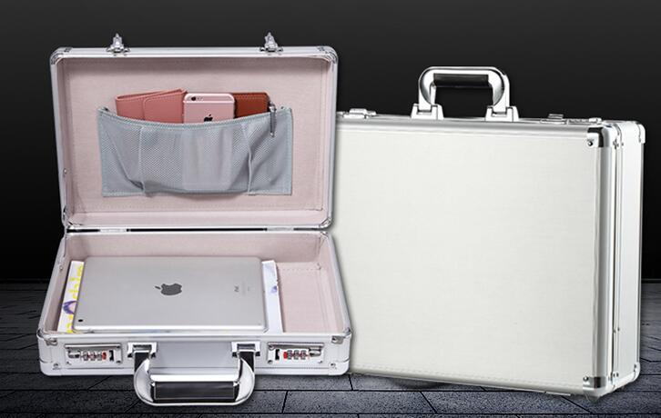 Sac à main d'affaires valise boîtier en aluminium travail Mini aluminium coffre-fort valise porte-documents affaires crédit porte carte bancaire boîte Case