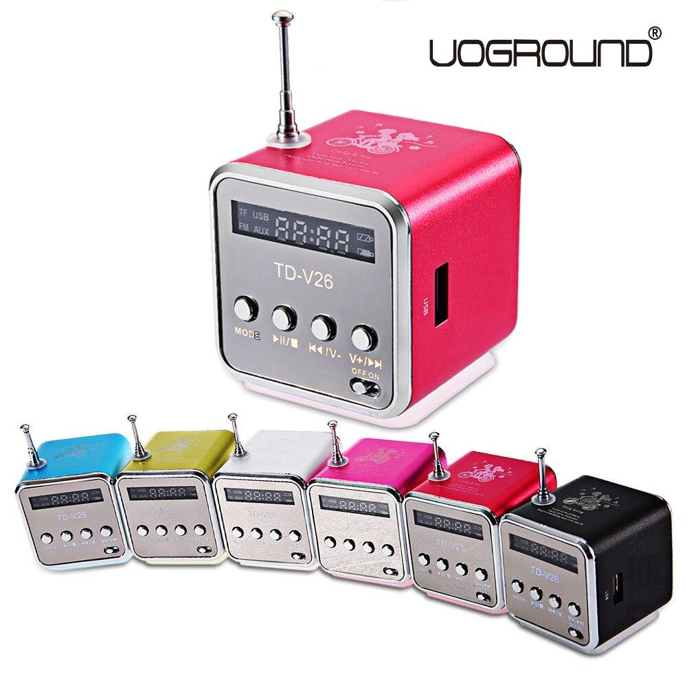 Neue TD-V26 Mini-lautsprecher Tragbare Digitale LCD Sound Micro SD/TF FM Radio Musik Stereo lautsprecher für Laptop Handy MP3