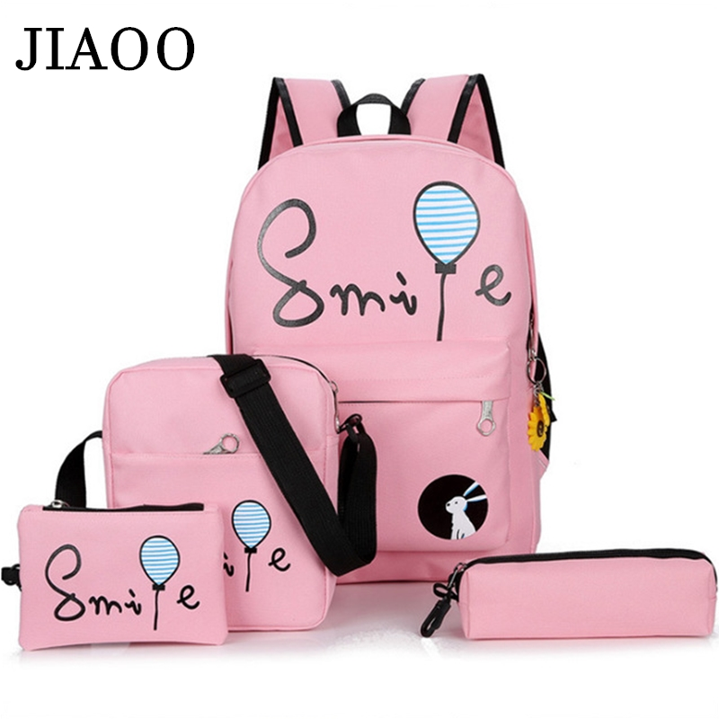JIAOO 4Pcs Female Backpack Casual Canvas Women's Backpack School Backpack Book Bags For Students Rucksack Women Mochila Feminina