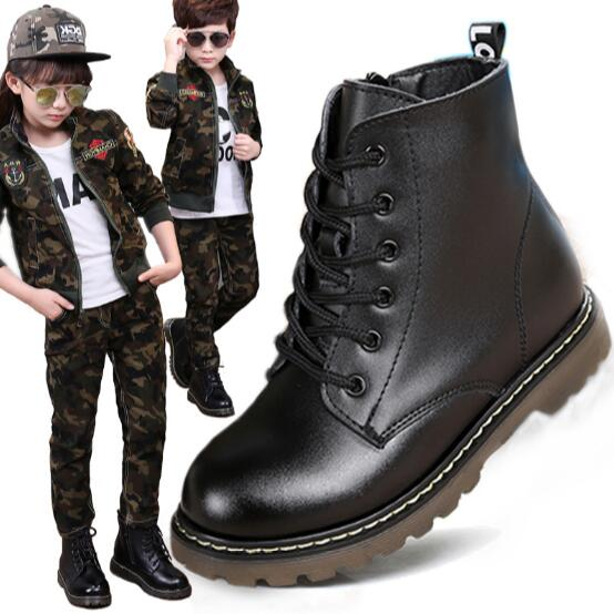 Top-Selling-Genuine-leather-Military-Motorcycle-boots-Children-shoes-Snow-Boots-Slip-resistant-Boys-Girls-Ankle-Martin-boots-03B-1