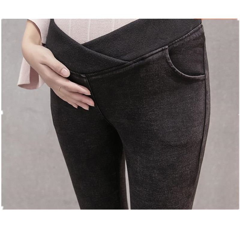 Maternity trousers for pengpious pregnant women autumn winter jeans stretched denim skinny belly cross waist  pants B0285 autumn winter women fashion ruffles flared jeans boot cut bell bottom jeans denim female trousers cute flare slim denim pants