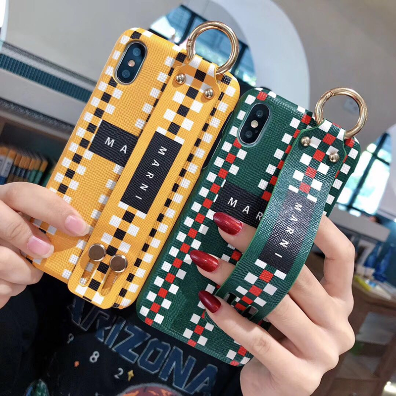 Luxury Marni Brand Metal Buckle Leather PU Wrist Bracket Hard Phone Iphone 6 S 7 8 Plus X Cover Fundas