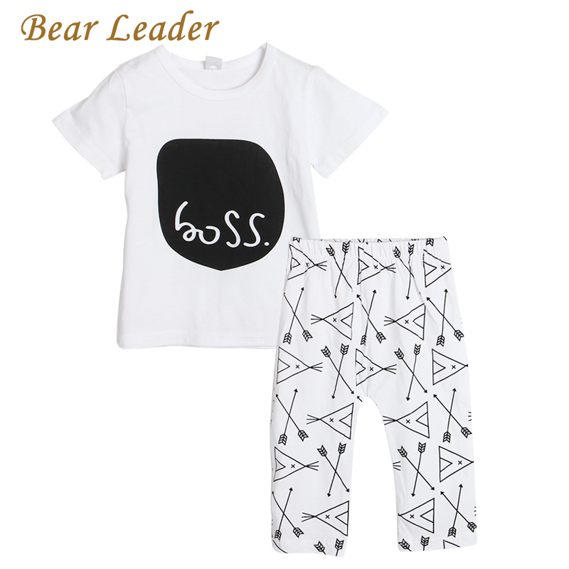 Bear Leader baby girl clothes letter printed short sleeve t-shirt + pants infant clothing 2pcs set newborn baby boy clothes set