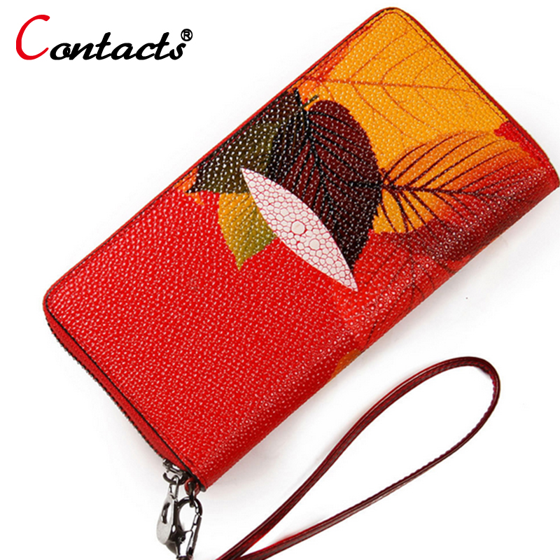 CONTACT'S Genuine Leather Wallet Women Bag Purse Luxury Brand Female Clutch Card Holder Long Ladies Walet flower phone Money Bag 2017 purse wallet big capacity female famous brand card holders cellphone pocket gifts for women money bag clutch passport bags