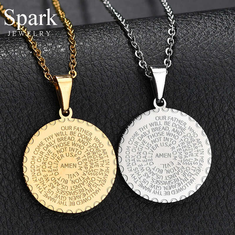Spark Vintage Stainless Steel Bible Amen Necklace Gold Color Round Pendant Necklace For Men Female Religious Jewelry Gift