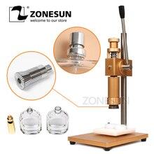 ZONESUN ручной обжимной станок + крышка для металлической крышки, пресс машина для изготовления крышек, устройство для изготовления крышек для духов