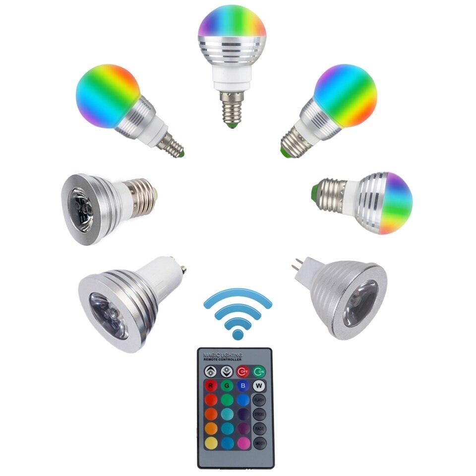 Светодиодный rgb лампа E27 E14 <font><b>GU10</b></font> MR16 3 Вт светодиодный Сменные прожектор лампы 85-265 В волшебный праздник RGB лампы с ИК-пульт 16 видов цветов