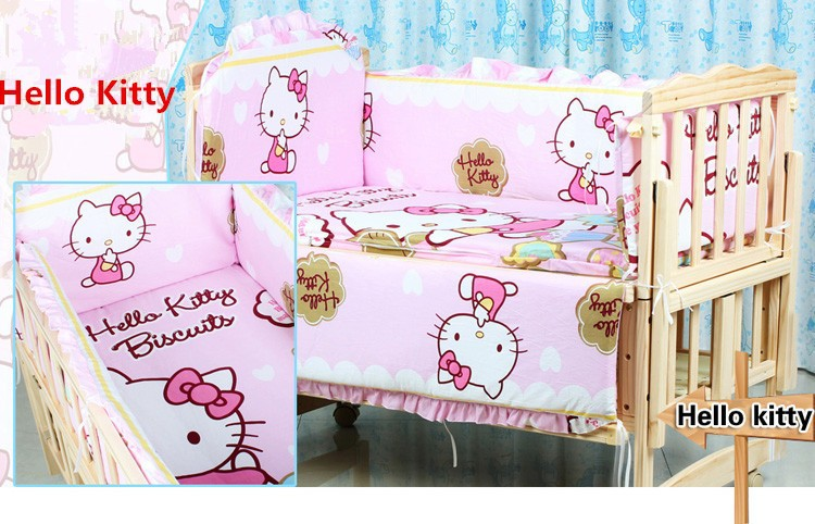 Promotion! 6PCS Cartoon 100% Cotton Kid Baby Children Bedding Set Baby Product Infant Cartoon (3bumper+matress+pillow+duvet)