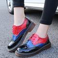 British Vintage Style 2017 New Women Girl Preppy College Style Multicolor Flat Patent Leather Students Teenagers Falt Shoes G556