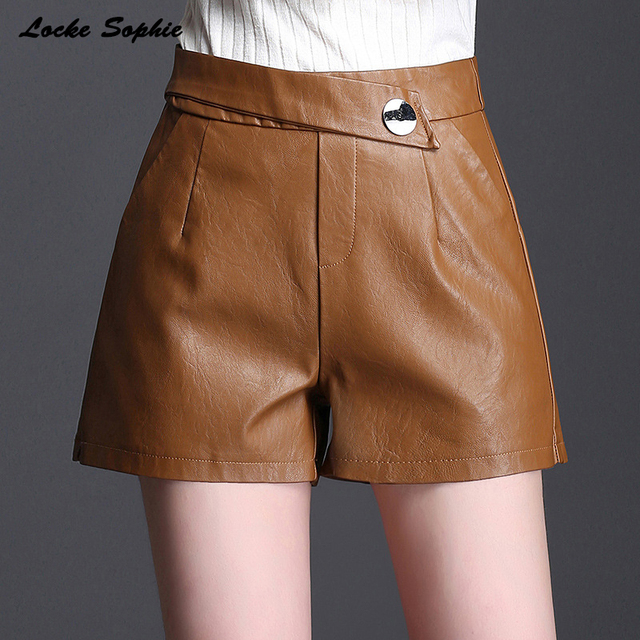 High waist shorts Women's leather shorts 2018 Autumn PU leathe faux fur zipper Mosaic shorts Ladies Skinny Leatherwear shorts