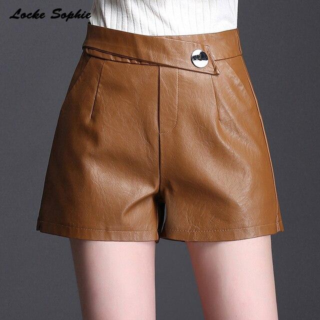 High waist shorts Women's leather shorts 2019 Spring PU leathe faux fur zipper Mosaic shorts Ladies Skinny Leatherwear shorts