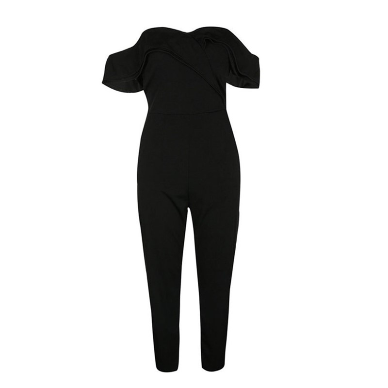 black rompers womens jumpsuit plus size sexy off shoulder overalls for women summer one piece jumpsuit casual long pants ZC2563
