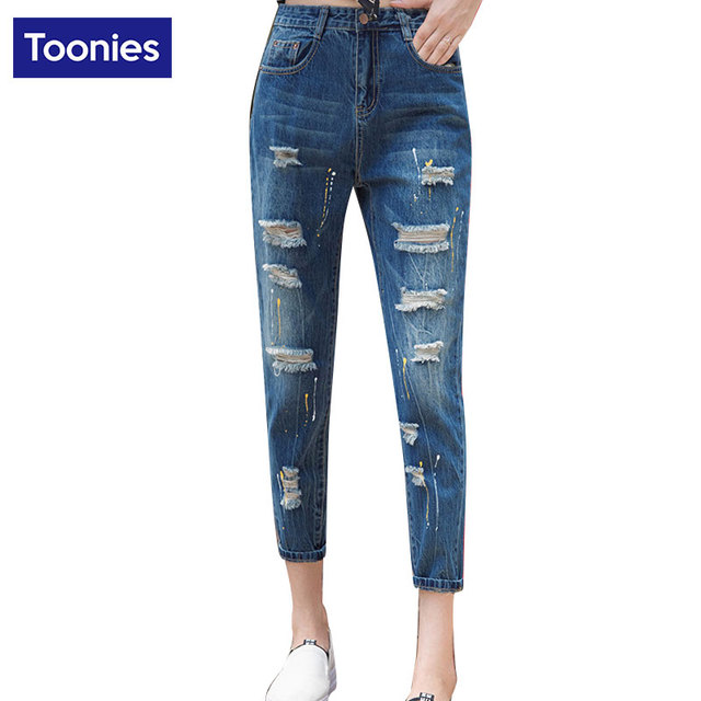 Multi Hole Design Casual Female Trousers Personality Women Harem Jeans Denim Pants Ankle-Length Vintage Trouser New All-Match