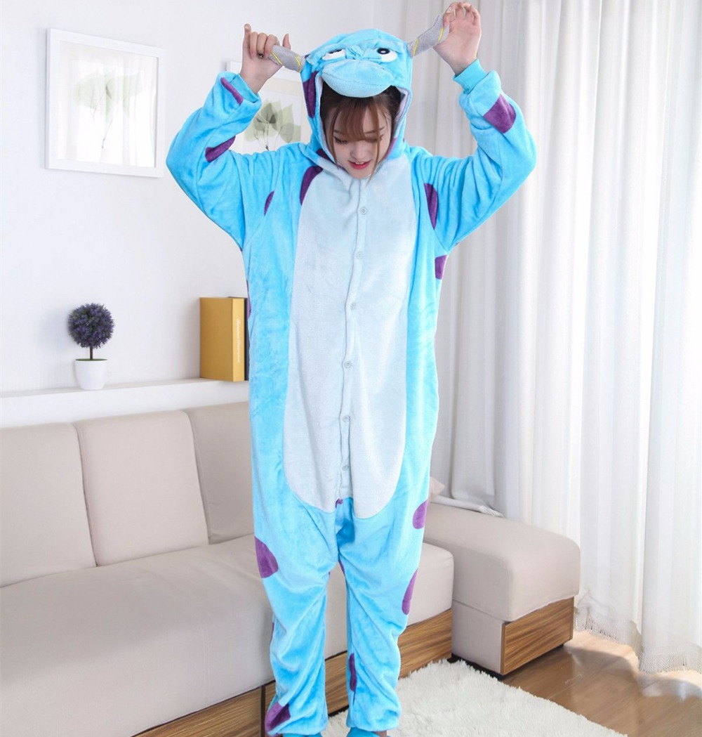 Anime  Monster University Mike Wazowski Sulley Flannel Pajamas Onesies Unisex Adult Animal Cosplay Costume Pajamas