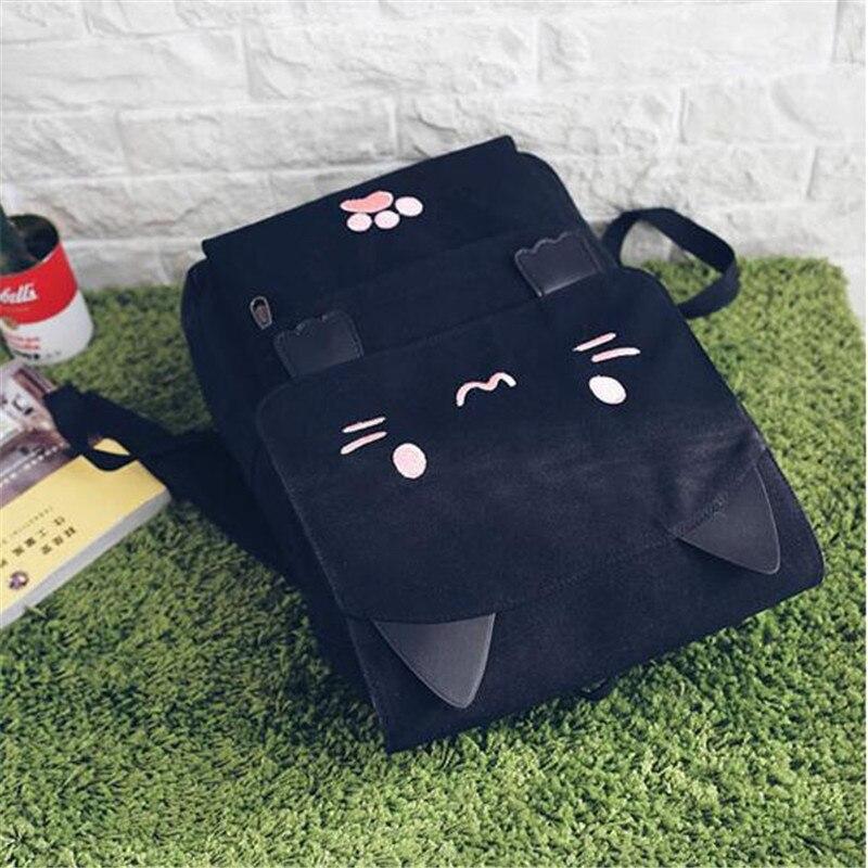 Harajuku Style Cartoon Cat Printing Backpack High School Students Shoulder Bag Women Canvas Backpack Girls Bag Mochila Rucksack #3