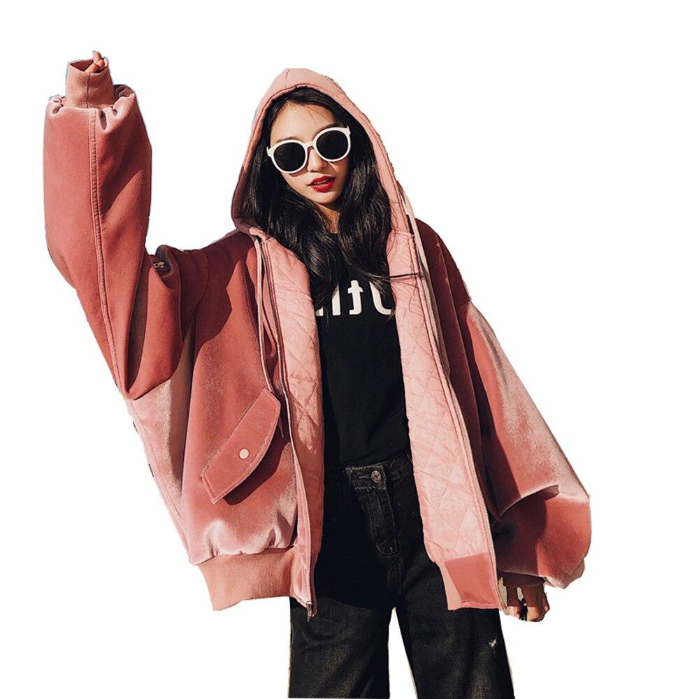 Rose Velours Manteau Bomber Veste womanHoodie Oversize Zipper Moto Dames Manteaux De Fourrure Kimono Femmes Vestes Outwear 8A60062
