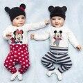 Детская Одежда Устанавливает Весна Микки Маус Мальчиков Одежда Для Девочек С Длинным Рукавом Ползунки + Брюки + Шляпы 3 Шт. Костюмы детская Одежда B0144