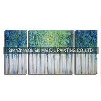 Hecho a mano Abstracta Moderna Pintura Al Óleo Sobre Lienzo Árbol Verde Pintura Al Óleo Conjunto de 3 Grupo Imagen Del Paisaje Forestal Pintura Cuchillo