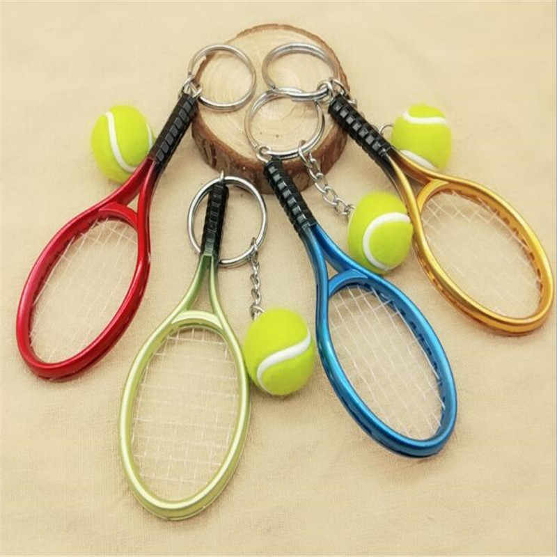 Cute Sport Mini Tennis Racket Pendant Keychain Keyring Key Chain Ring Finder Holer Gifts for Teenager  B125