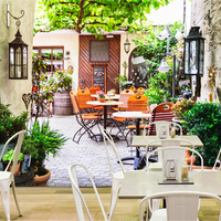 Free Shipping 3D Stereo European Cafe Restaurant Street Scenery Mural Wallpaper Background TV Specials