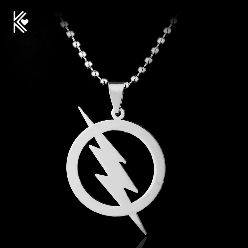 Drop Shipping Stainless steel Superhero Silver Plated The Flash Lightning Symbol Beads Chain Necklace Fashion MenPendant Gifts