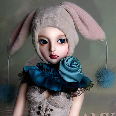 Free shipping ! free makeup&eyes included !top quality 1/4 bjd girl doll AMY cute bunny sd best toy christmas gifts