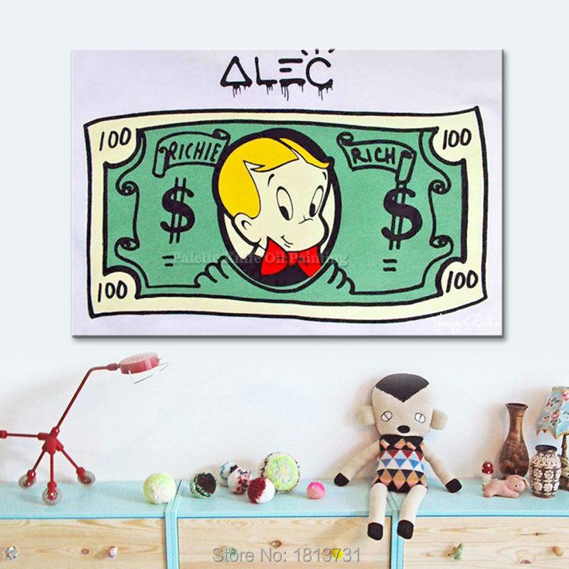 Alec Painting Graffiti Pop art Street Urban Money art on Canvas Wall art Pictures for living room Home Decor cuadros decoracion1