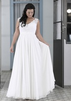 2015 New Plus Size Chiffon Summer Beach Wedding Dresses With V Neck White Lace Backless Bride