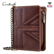 CONTACT'S crazy horse leather wallet men anti theft vintage