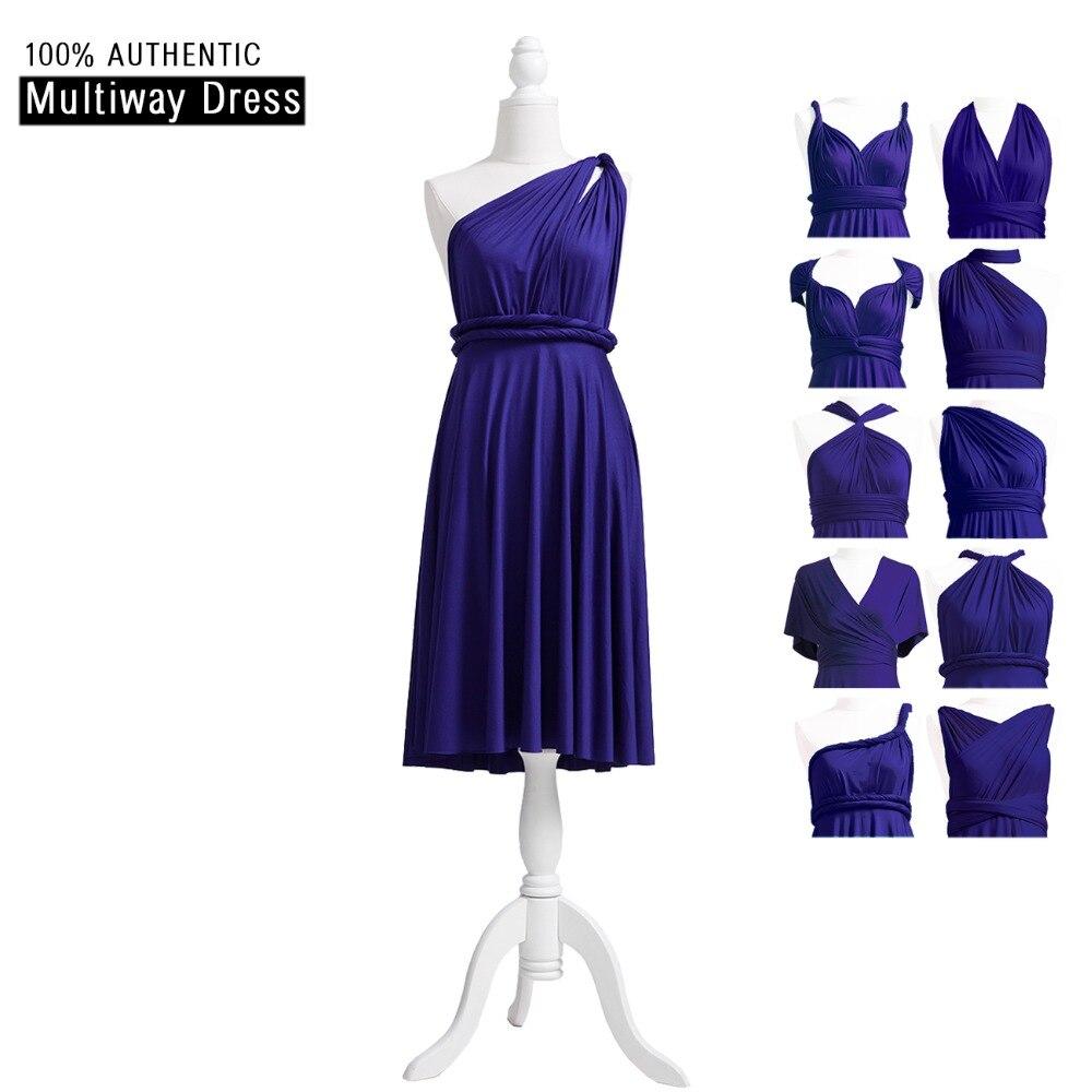 Midnight Blue   Bridesmaid     Dress   Short Multi Way   Dress   Infinity   Dress   Twist Wrap   Dress   With One Shoulder Style
