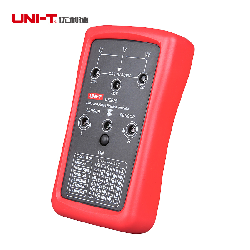 UNI-T UT261B 3 Phase Sequence Rotation Indicator Tester Meter for 15Hz~400Hz  Motor Rotation Meter Sequence Tester uni t ut262c non contact phase detectors 3 phase sequence circuit break detection voltage detection