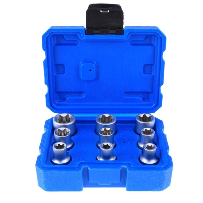 цена на 9pcs/set Torx Star E Hex Socket Sleeve Nuts Driver Bits Set Adapter Socket Sleeve Screwdriver Repair Tool Set for Wood Working