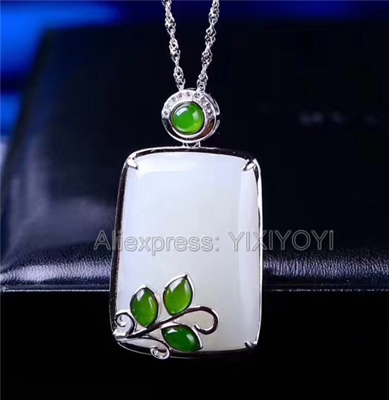 925 Sterling Silver White Green HeTian Jade Carved Elegant Design Lucky Pendant + Chain Necklace Charm Fine Jewelry Charm Gift