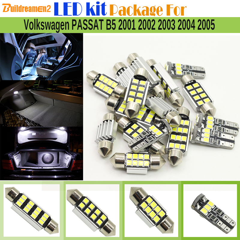 Buildreamen2 Car No Error Interior LED Kit Package 2835 SMD LED Bulb White For Volkswagen VW PASSAT B5 2001-2005 Map Dome Light for volkswagen passat b6 b7 b8 led interior boot trunk luggage compartment light bulb