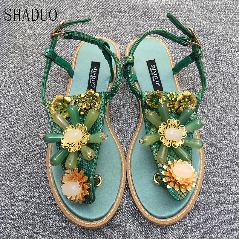 2018 shaduo top quality Genuine Leather stitching silk buckle sandals agate with flower hardware clip flat