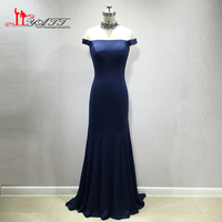 LIYATT 2018 Navy Blue Sexy Mermaid Crystal African Amazing Handmade Formal Long High Neck Evening Prom Dress Custom Made