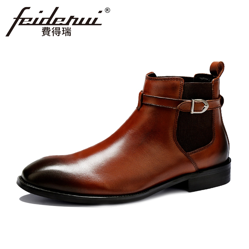 Plus Size British Designer Genuine Leather Men's Chelsea Ankle Boots Luxury Round Toe Cowboy Riding Dress Shoes For Man ASD54 new summer designer man handmade breathable chelsea shoes male genuine leather men s round toe cowboy riding ankle boots ss347