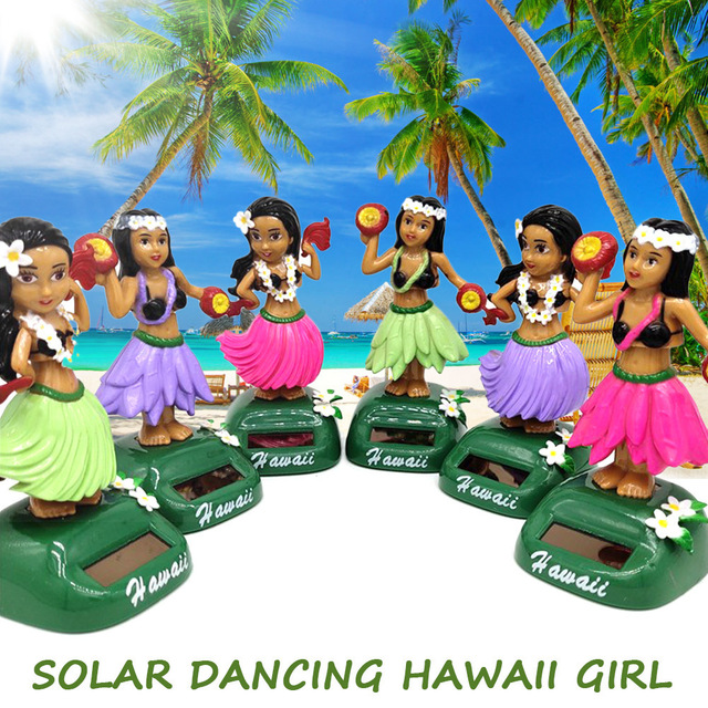Car Decoration Dancing Doll Car Accessories Solar Power Toy Shaking Head Hawaii Swinging Animated Girl Car Ornament Car-styling