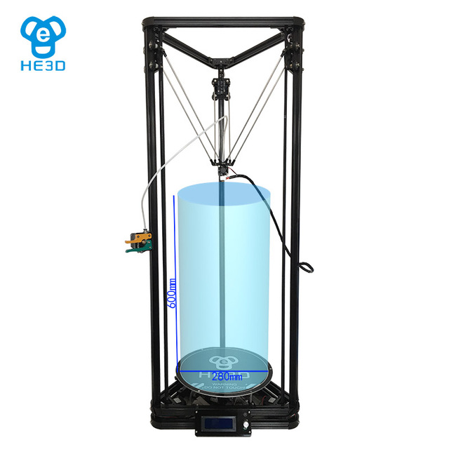HE3D NEWEST reprap K280 delta 3D printer Heat bed Auto level Large size 280mm in diameter 600mm in height support multi material