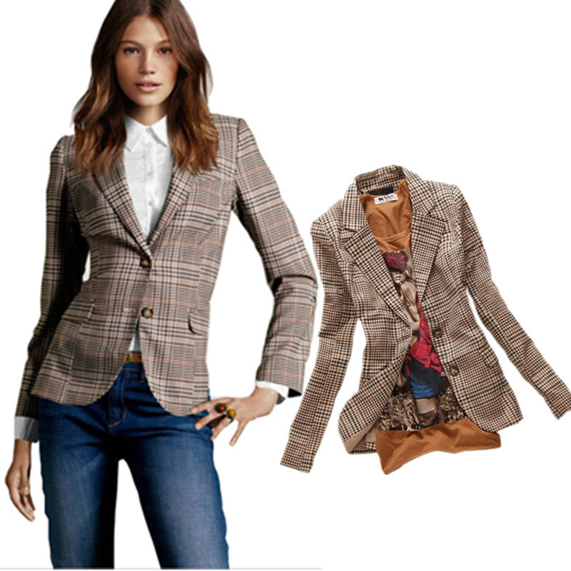 2017 New Stylish Women's Plaid Elbow Patches Two Button Slim Fit Blazer Ladies Autumn Suits Basic Jacket Casual Feminino - Wischoo--Shopping Wise Choose store